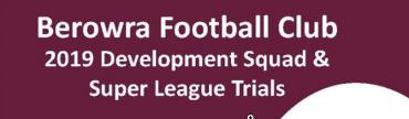 Trials for 2019 teams (U9-14) – Rnd2