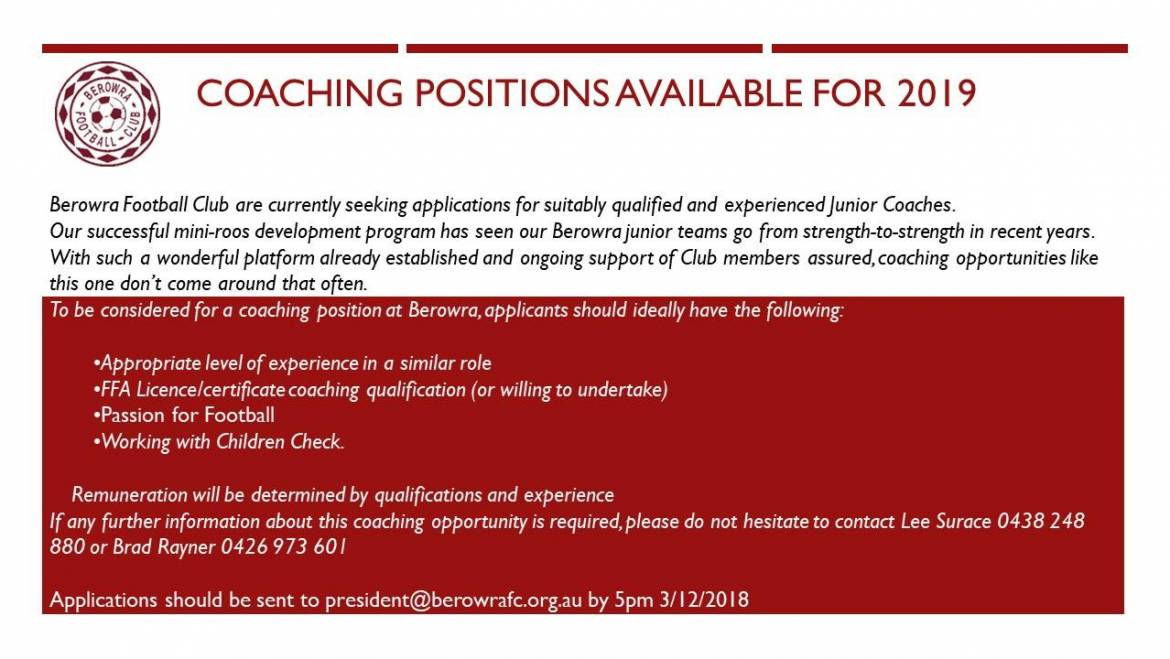 Coaching Positions Available for 2019