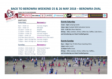 Back to Berowra Weekend