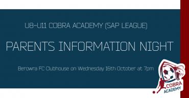 Parents Info Night (SAP League U8-U11)