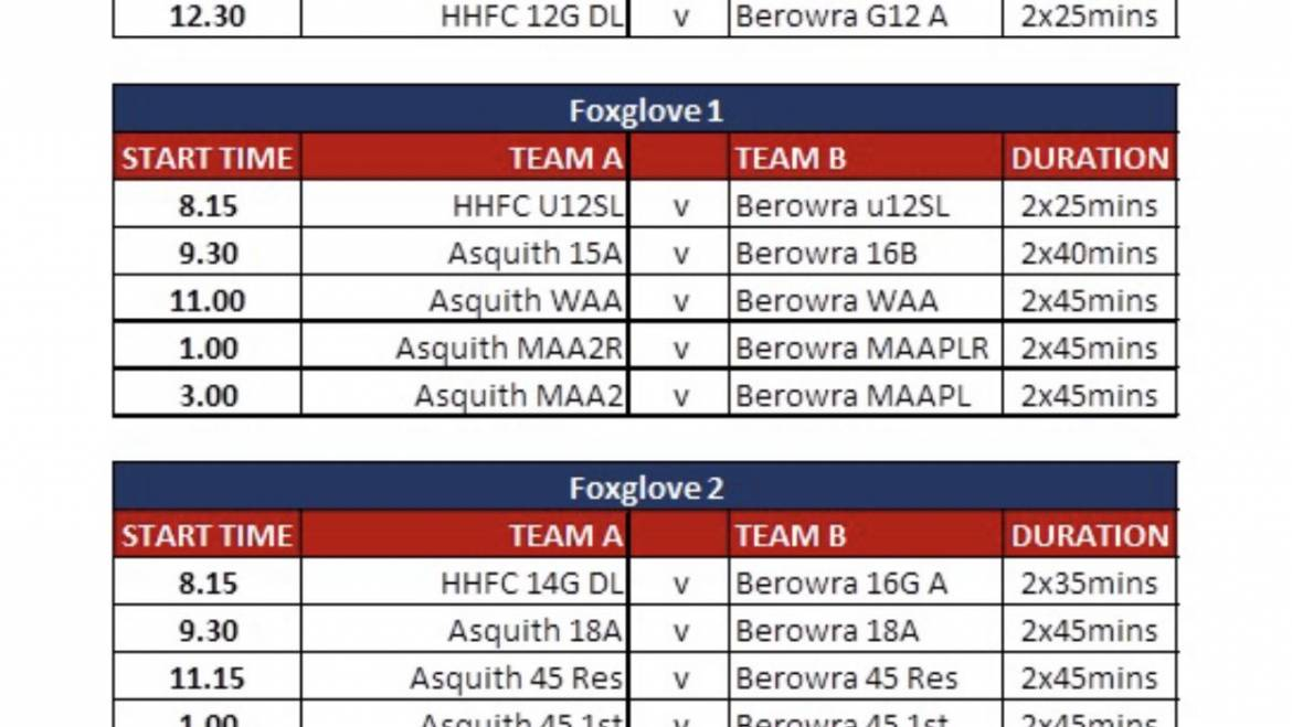 Fixtures for Sunday 15th March