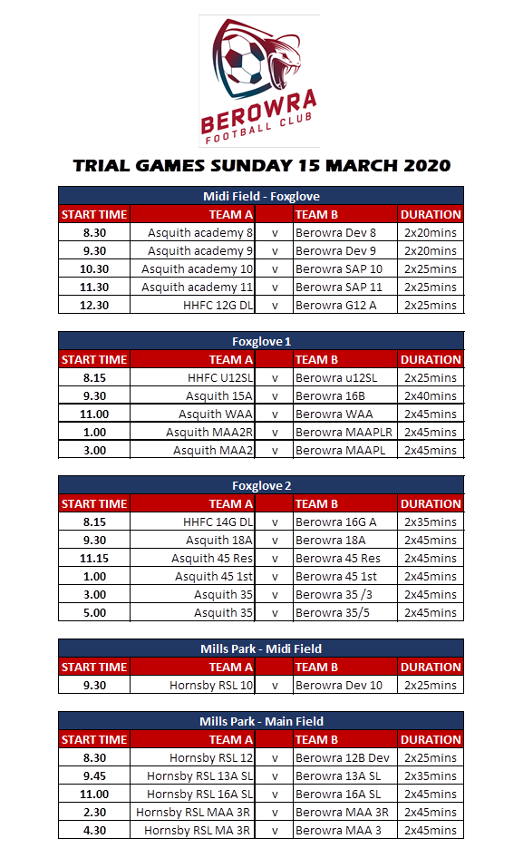 Fixtures for games on 15th March