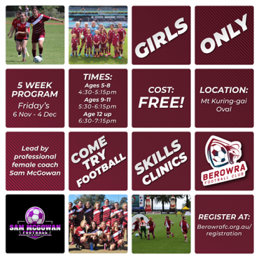FREE! Girls Football Skills Clinic